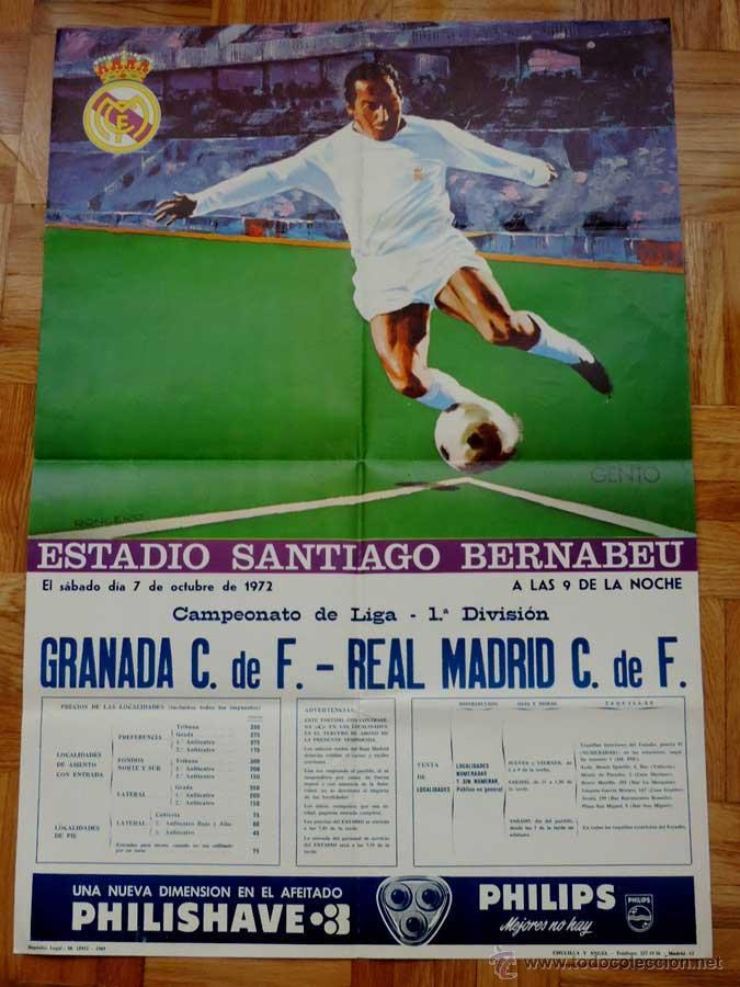 1972, CARTEL ORIGINAL REAL MADRID, GRANADA C. DE F., FUTBOL, CAMPEONATO DE LIGA 1ª DIVISION, 7 DE OC (Coleccionismo Deportivo - Carteles de Fútbol)