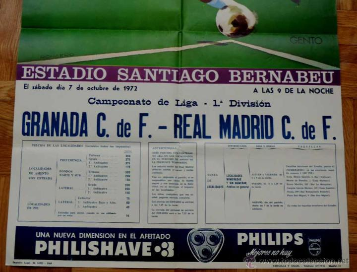 Coleccionismo deportivo: 1972, CARTEL ORIGINAL REAL MADRID, GRANADA C. DE F., FUTBOL, CAMPEONATO DE LIGA 1ª DIVISION, 7 DE OC - Foto 2 - 43879083