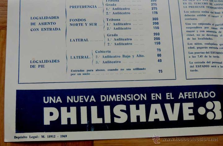 Coleccionismo deportivo: 1972, CARTEL ORIGINAL REAL MADRID, GRANADA C. DE F., FUTBOL, CAMPEONATO DE LIGA 1ª DIVISION, 7 DE OC - Foto 3 - 43879083