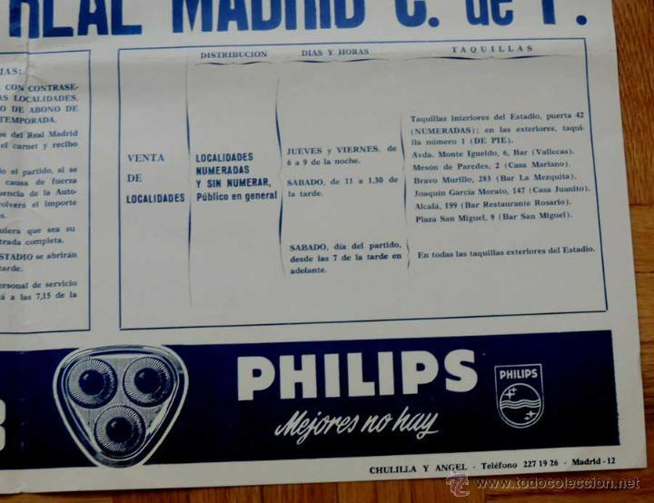 Coleccionismo deportivo: 1972, CARTEL ORIGINAL REAL MADRID, GRANADA C. DE F., FUTBOL, CAMPEONATO DE LIGA 1ª DIVISION, 7 DE OC - Foto 4 - 43879083