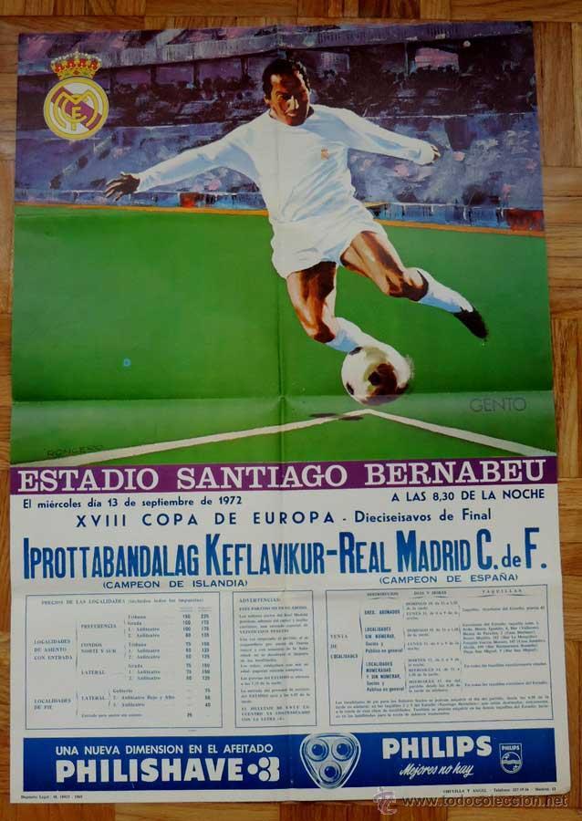 1972, CARTEL ORIGINAL REAL MADRID, IPROTTABANDALAG KEFLAVIKUR (CAMPEON DE ISLANDIA), FUTBOL, XVIII C (Coleccionismo Deportivo - Carteles de Fútbol)