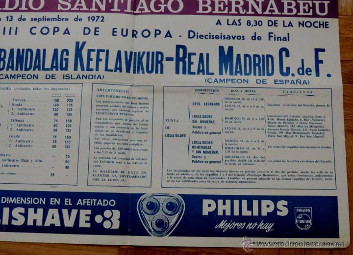 Coleccionismo deportivo: 1972, CARTEL ORIGINAL REAL MADRID, IPROTTABANDALAG KEFLAVIKUR (Campeon de Islandia), FUTBOL, XVIII C - Foto 3 - 43879116