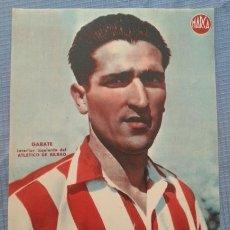 Coleccionismo deportivo: ATHLETIC DE BILBAO VIZCAYA CARTEL FUTBOL DEL JUGADOR GARATE - LAMINA POSTER AÑOS 40 DEL MARCA. Lote 43936434