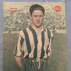 Coleccionismo deportivo: ESPAÑOL BARCELONA CARTEL FUTBOL DEL JUGADOR JUNCOSA - LAMINA POSTER AÑOS 40 DEL MARCA. Lote 43936453