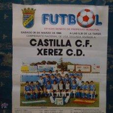 Coleccionismo deportivo: CADIZ - RARO CARTEL DE FUTBOL JEREZ - 1988 ESTADIO DOMECQ - CASTILLA C.F - XEREZ C.D . Lote 45024944