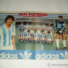 Coleccionismo deportivo: POSTER TAMAÑO 49X33 CM - ALINEACION REAL SOCIEDAD TEMPORADA 1980 1981 CAMPEON LIGA ADIDAS. Lote 46334489