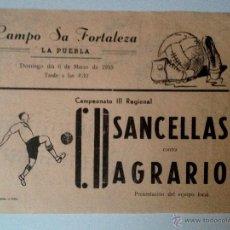 Coleccionismo deportivo: FOLLETO PEQUEÑO POSTER CAMPO SA FORTALEZA FUTBOL LA PUEBLA MALLORCA 1955. AGRARIO-SANCELLAS. Lote 47022943