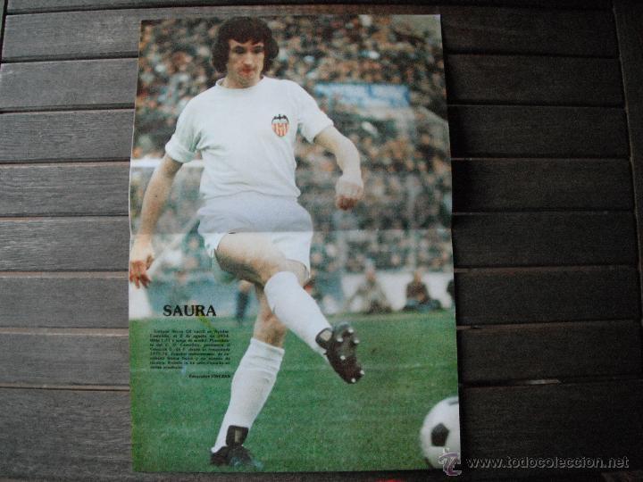 POSTER SAURA (VALENCIA C.F.). AÑOS 80´ (Coleccionismo Deportivo - Carteles de Fútbol)