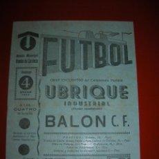 Coleccionismo deportivo: FUTBOL.ESTADIO RAMÓN DE CARRANZA.CÁDIZ.4 DE ENERO DE 1959.UBRIQUE INDUSTRIAL-BALÓN C.F.. Lote 47253767