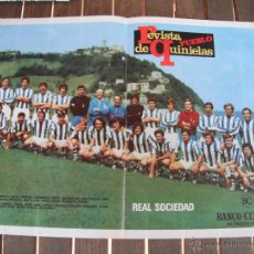 Coleccionismo deportivo: POSTER REVISTA DE PUEBLO QUINIELAS. REAL SOCIEDAD. AÑO 1973/74.. Lote 47322425