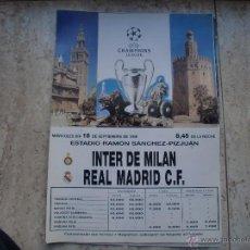 Coleccionismo deportivo: POSTER REAL MADRID-INTER DE MILAN ESTADIO SANCHEZ PIZJUAN 16-11-98. Lote 47504340