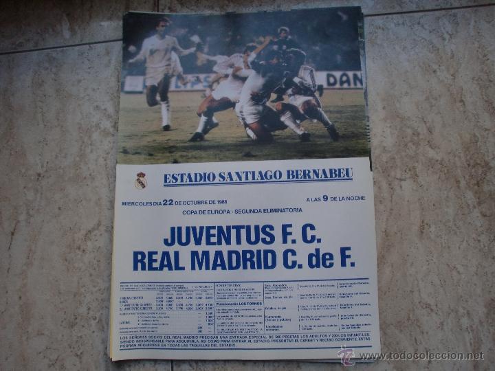 POSTER REAL MADRID-JUVENTUS COPA EUROPA 86 (Coleccionismo Deportivo - Carteles de Fútbol)