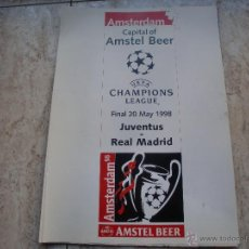 Coleccionismo deportivo: POSTER REAL MADRID - JUVENTUS FINAL CHAMPION 98. Lote 47504640