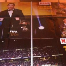 Coleccionismo deportivo: POSTER CRISTIANO RONALDO BALON DE ORO GOLDEN BALL REAL MADRID FIFA BALLON D´OR. Lote 219710118