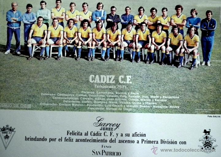 CÁDIZ C.F. POSTER 76-77 (Coleccionismo Deportivo - Carteles de Fútbol)