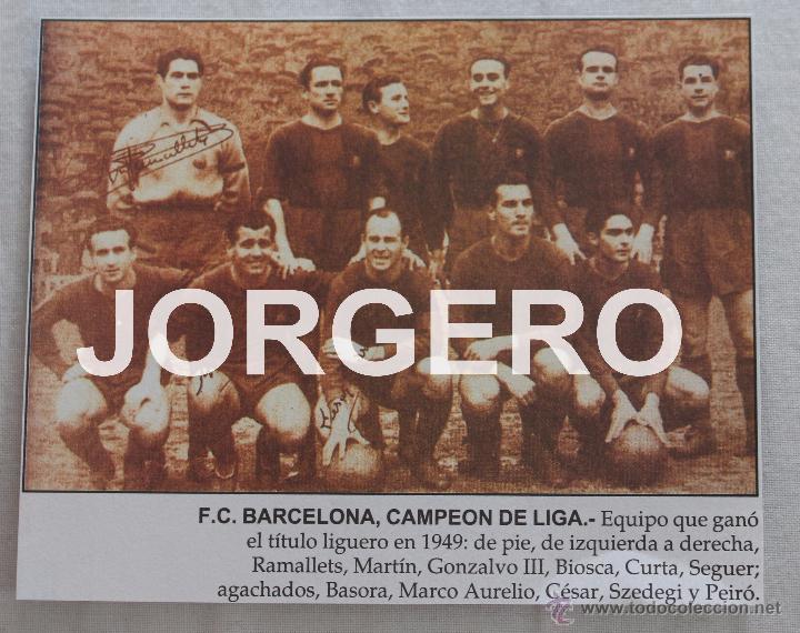 F.C. BARCELONA. CAMPEÓN DE LIGA 1948-1949. RECORTE (Coleccionismo Deportivo - Carteles de Fútbol)