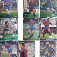 Coleccionismo deportivo: 9 POSTER DE JUGADORES DEL BARCELONA RONALDO SHUSTER STOICHKOV ALESANCO URRUTI QUINI GIOVANNI BAQUERO. Lote 49002572