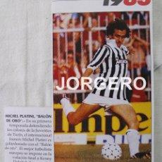 Coleccionismo deportivo: PLATINI. BALÓN DE ORO 1983. RECORTE ADHESIVO. Lote 49083994