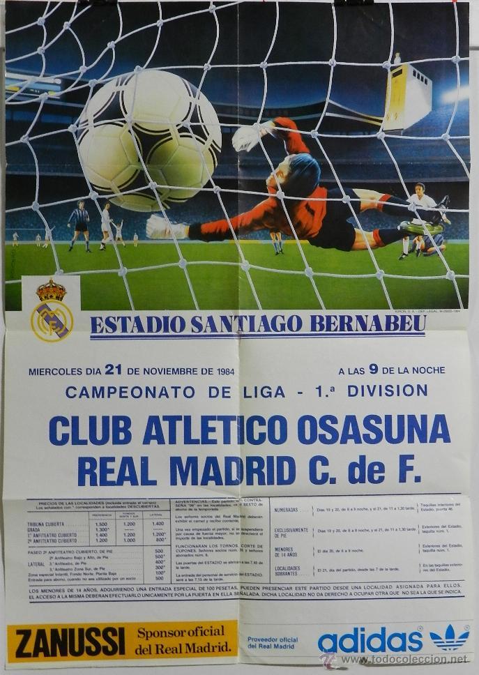 CARTEL FUTBOL. CAMPEONATO LIGA 1ª DIVISION. CLUB ATLETICO OSASUNA - REAL MADRID C.DE F., 21 DE NOVIE (Coleccionismo Deportivo - Carteles de Fútbol)