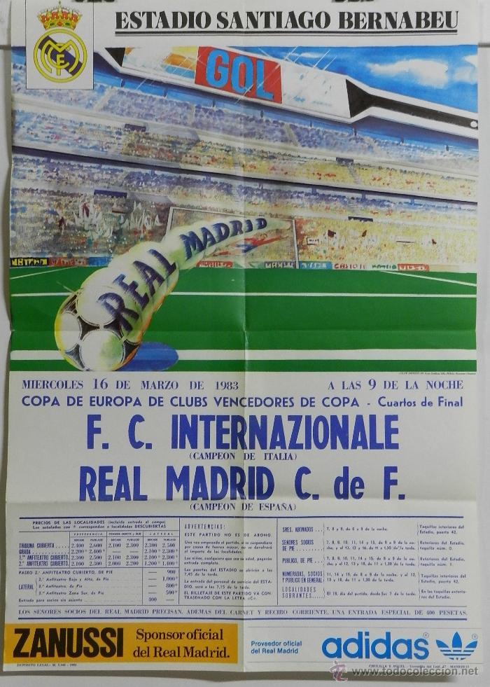 CARTEL FUTBOL. COPA DE EUROPA DE CLUBS VENCEDORES DE COPA. F.C. INTERNAZIONALE - REAL MADRID. 16 DE (Coleccionismo Deportivo - Carteles de Fútbol)