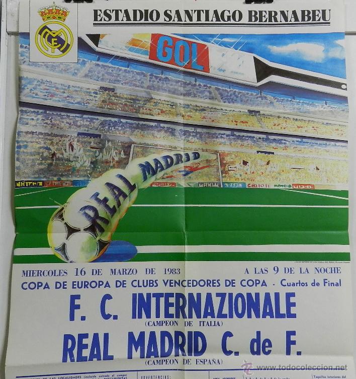 Coleccionismo deportivo: CARTEL FUTBOL. COPA DE EUROPA DE CLUBS VENCEDORES DE COPA. F.C. INTERNAZIONALE - REAL MADRID. 16 DE - Foto 2 - 49209850