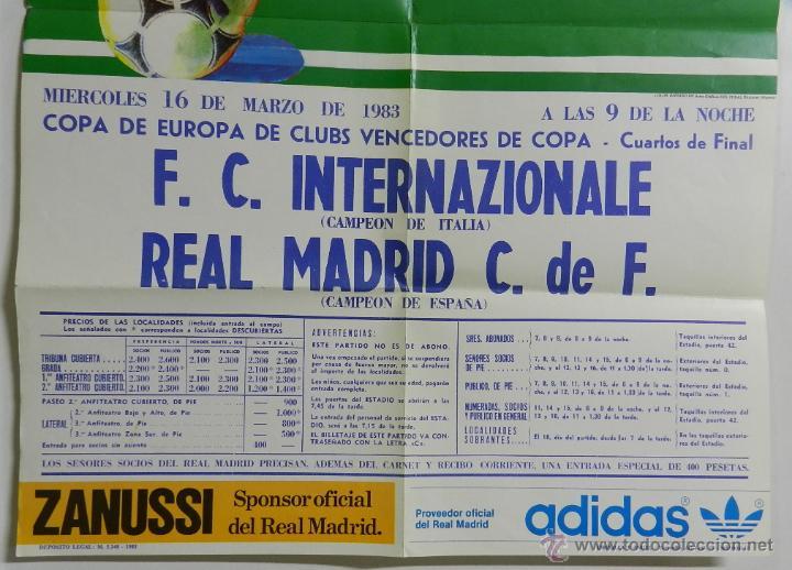Coleccionismo deportivo: CARTEL FUTBOL. COPA DE EUROPA DE CLUBS VENCEDORES DE COPA. F.C. INTERNAZIONALE - REAL MADRID. 16 DE - Foto 3 - 49209850