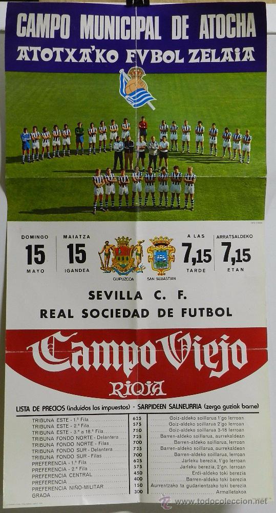 1976 CARTEL ORIGINAL DEL REAL SOCIEDAD DE FUTBOL, CONTRA EL SEVILLA C. F., CAMPO MUNICIPAL DE ATOCHA (Coleccionismo Deportivo - Carteles de Fútbol)