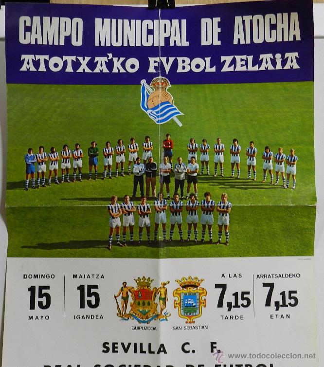 Coleccionismo deportivo: 1976 CARTEL ORIGINAL DEL REAL SOCIEDAD DE FUTBOL, CONTRA EL SEVILLA C. F., CAMPO MUNICIPAL DE ATOCHA - Foto 2 - 49300239