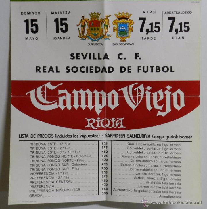 Coleccionismo deportivo: 1976 CARTEL ORIGINAL DEL REAL SOCIEDAD DE FUTBOL, CONTRA EL SEVILLA C. F., CAMPO MUNICIPAL DE ATOCHA - Foto 3 - 49300239