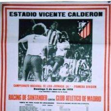 Coleccionismo deportivo: CARTEL ORIGINAL. FUTBOL. ESTADIO VICENTE CALDERON. RACING SANTANDER ATLETICO DE MADRID. LIGA 1978.. Lote 49586389