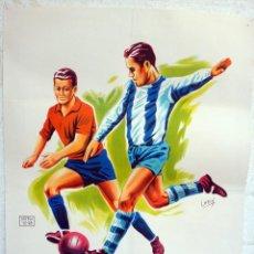 Coleccionismo deportivo: CARTEL FUTBOL, AÑOS 1950 1960, ANTIGUO, ESPAÑA ARGENTINA ??? , LITOGRAFIA , POR IMPRIMIR , ORIGINAL. Lote 49752727