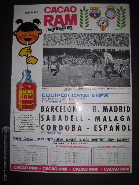 CARTEL EQUIPOS CATALANES AÑO 1966 - PUBLICIDAD CACAO RAM - MIDE 39 X 55 CM. (Coleccionismo Deportivo - Carteles de Fútbol)