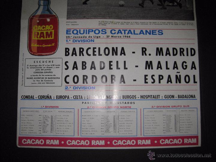 Coleccionismo deportivo: CARTEL EQUIPOS CATALANES AÑO 1966 - PUBLICIDAD CACAO RAM - MIDE 39 X 55 CM. - Foto 3 - 50651438