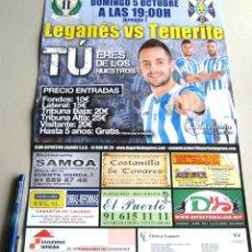 Coleccionismo deportivo: CARTEL PARTIDO CD LEGANES - CD TENERIFE DE CANARIAS ESTADIO BUTARQUE 14 - 15 LIGA ADELANTE. Lote 51216585