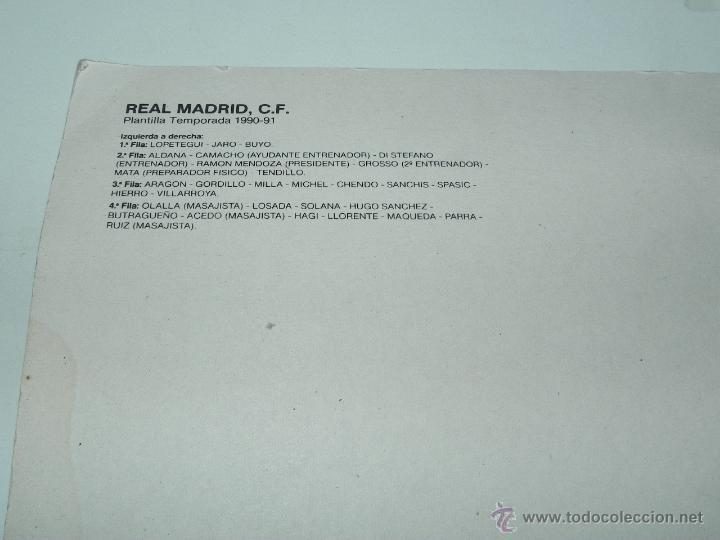 Coleccionismo deportivo: PLANTILLA DEL REAL MADRID 1990 / 91, FOTOGRAFIA GRAN TAMAÑO, FOTO RAUL CANCIO, DI STEFANO DE ENTRENA - Foto 3 - 51355924