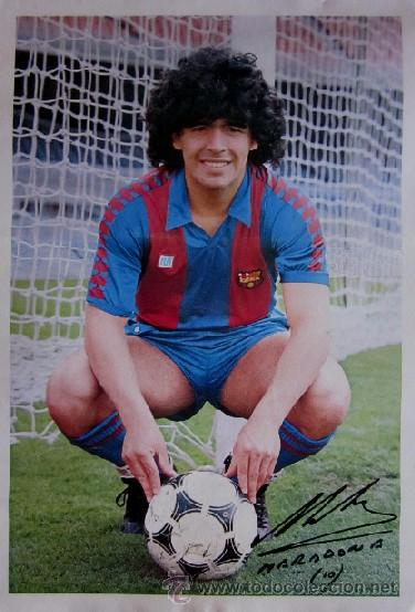 POSTER DIEGO ARMANDO MARADONA - F.C.BARCELONA - CON LA FIRMA IMPRESA DEL JUGADOR (Coleccionismo Deportivo - Carteles de Fútbol)
