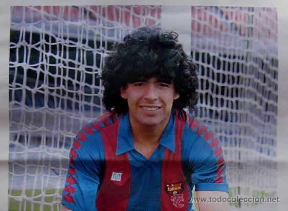 Coleccionismo deportivo: POSTER DIEGO ARMANDO MARADONA - F.C.BARCELONA - CON LA FIRMA IMPRESA DEL JUGADOR - Foto 3 - 71940527