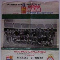 Coleccionismo deportivo: CARTEL FUTBOL RAM - JORNADA LIGA 64/65: C.F. BARCELONA - AT. MADRID Y R.C.D. ESPAÑOL - CORDOBA. Lote 51920551