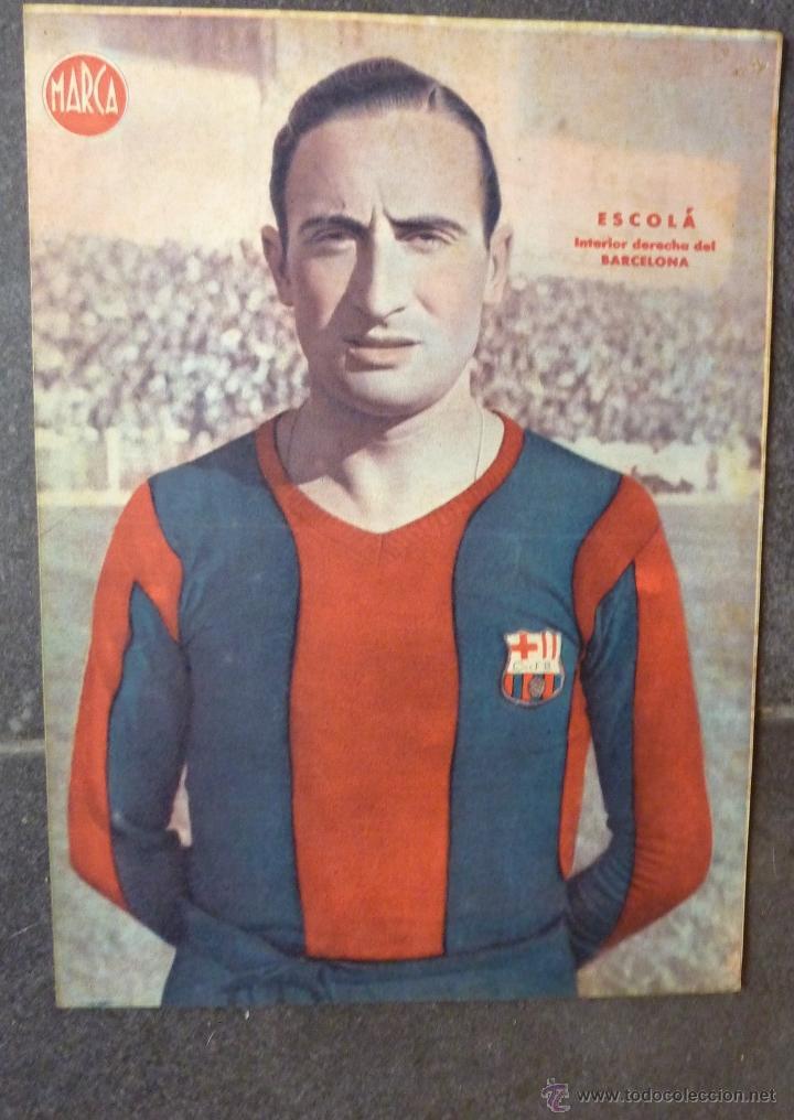 ANTIGUO CARTEL POSTER LAMINA ESCOLA , INTERIOR DERECHA FUTBOL CLUB BARCELONA BARÇA 32 / 23 CM (Coleccionismo Deportivo - Carteles de Fútbol)