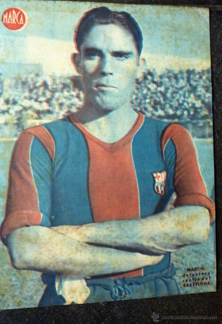 ANTIGUO CARTEL POSTER LAMINA MARTIN DELANTERO CENTRO FUTBOL CLUB BARCELONA BARÇA 32 / 23 CM (Coleccionismo Deportivo - Carteles de Fútbol)