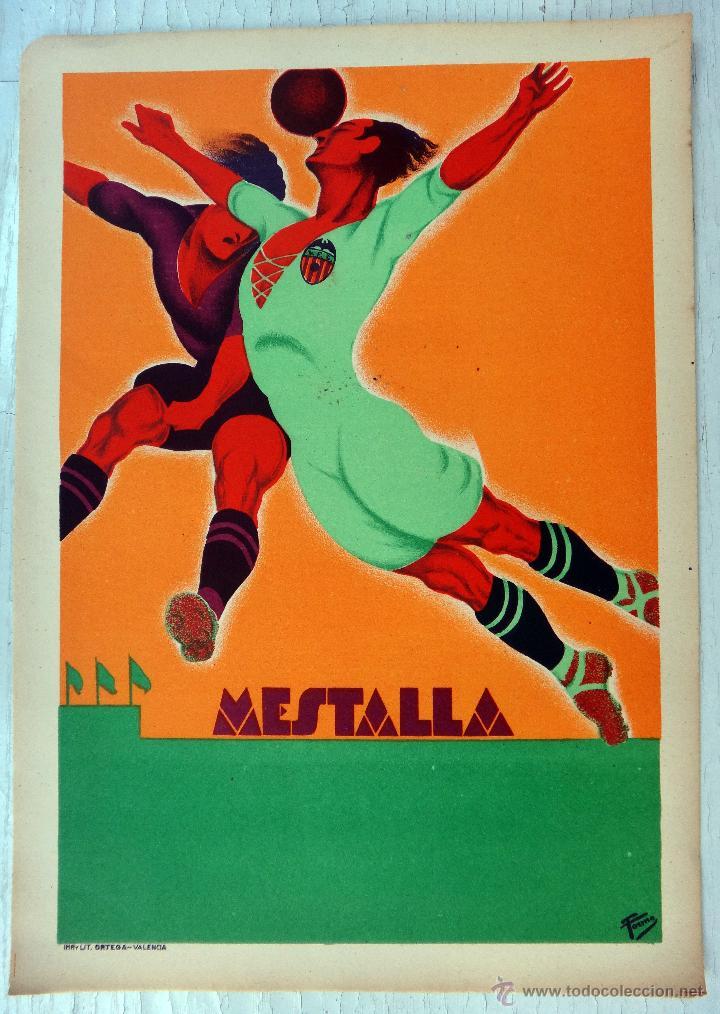 CARTEL FUTBOL, VALENCIA CF, AÑOS 30, CAMPO MESTALLA, LITOGRAFIA, TORMO , SIN TEXTO, DECO , RB (Sammelleidenschaft Sport - Fußball Poster)