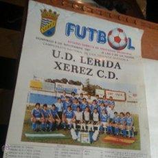 Coleccionismo deportivo: GRAN CARTEL 1987 FUTBOL U.D. LERIDA XEREZ CLUB DEPORTIVO - JEREZ , ESTADIO DOMEC SEGUNDA A. Lote 54364582