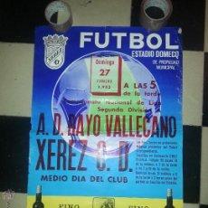 Coleccionismo deportivo: GRAN CARTEL 1983 FUTBOL ESTADIO DOMECQ JEREZ - RAYO VALLECANO XEREZ . Lote 54365411