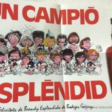 Coleccionismo deportivo: POSTER FC BARCELONA CAMPEON LIGA 1984-85 - CARICATURAS - PUBLICIDAD BRANDY ESPLENDIDO.. Lote 54828275
