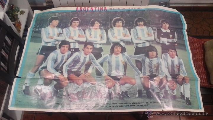 ANTIGUO POSTER GIGANTE A TODO COLOR ARGENTINA CAMPEON MUNDIAL 1978 (Coleccionismo Deportivo - Carteles de Fútbol)