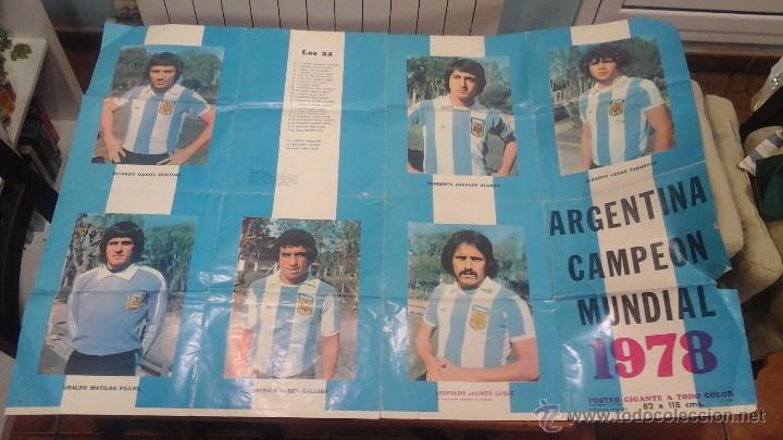 Coleccionismo deportivo: ANTIGUO POSTER GIGANTE A TODO COLOR ARGENTINA CAMPEON MUNDIAL 1978 - Foto 2 - 94033802