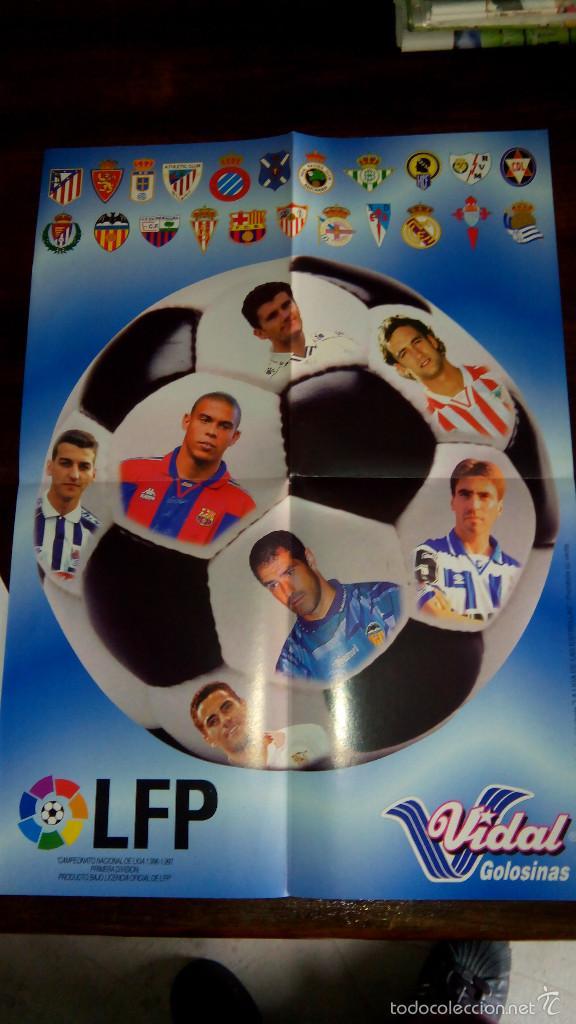 POSTERS FUTBOL GOLOSINAS VIDAL. LIGA 96/97. BARCELONA, BETIS, ATLETICO, RONALDO, STOCHKOV, KIKO... (Coleccionismo Deportivo - Carteles de Fútbol)