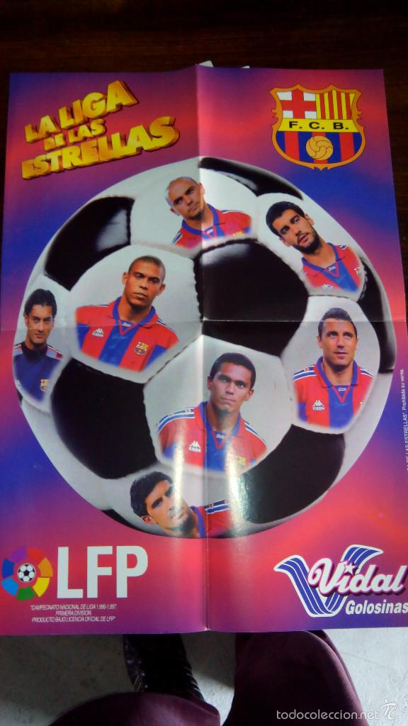 Coleccionismo deportivo: Posters futbol golosinas Vidal. Liga 96/97. Barcelona, Betis, Atletico, Ronaldo, Stochkov, Kiko... - Foto 3 - 55251189