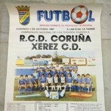 Coleccionismo deportivo: CARTEL LIGA FUTBOL 2º DIVISION AÑO 1987 - JEREZ XEREZ C.D - DEPORTIVO DE LA CORUÑA. Lote 55833252