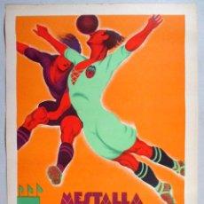 Coleccionismo deportivo: CARTEL FUTBOL, VALENCIA CF, AÑOS 30, CAMPO MESTALLA, LITOGRAFIA, TORMO , SIN TEXTO, DECO , ORIGINAL. Lote 76016550